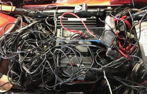 (Under the seat) The excess wire from the accent lights has started to look more like a rats nest than a motorcycle.